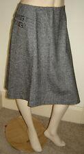 GARNET HILL Black/Gray Tweed Asymmetrical Stretch Wool Skirt w/ Buckles (8P)