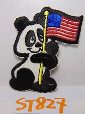 Vintage 1970'S Embroidered Patch Craft Retro Hippie Panda W/American Us Flag