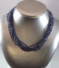 """NWT Michael Stein 5 Strand Beaded Iolite 17"""" Necklace with 14KW Clasp"""