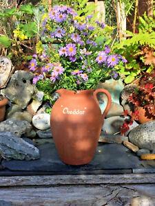 Large Vintage Rustic Farmhouse Jug Pitcher/ Vase With Blue Glazed Interior