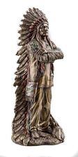 Native American Chief Standing Bronze Effect Figurine 30cm