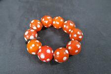 10 Augenperlen Vintage White Heart BO64 Venetian African Trade Eye Beads