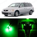 15 x Super Green LED Lights Interior Package Kit For Honda ODYSSEY 1999 - 2004