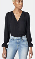 JOIE Top Small Navy Blue Bolona Silk Blouse V Neck Shirt MISSING BUTTON