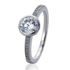 Women Silver Rhodium Plated 1.25ct Round CZ Bezel Solitaire Engagement Ring