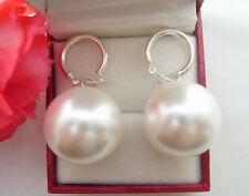 20MM White Shell Pearl  Earrings-Silver Hoop