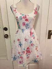 French Connection women's white pink blue floral knee length dress �� size 0 xs