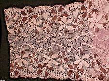 rascheln ENCAJE Cenefa Elástico Rosa/Marrón 1m x 17cm lace dentelle шнурок
