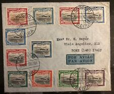 1935 Beira Portuguese Mozambique Airmail cover to Rome Italy Stamp Set C1-11