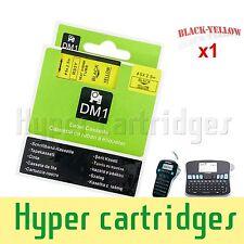 1PK DYMO RHINO Compatible Heat Shrink Tube D1 Black on Yellow 5mm Heatshrink