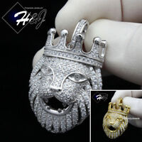 MEN 925 STERLING SILVER LAB DIAMOND ICED BLING SILVER/GOLD LION HEAD PENDANT*191