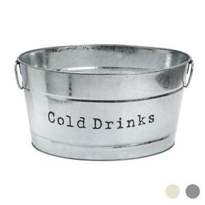 Large Drinks Bucket Beer Wine Ice Party Cooler Vintage Metal Handles Silver