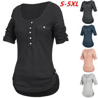 Women Ladies Long Sleeve Button Blouse Pullover Tops Shirt With Pocket Plus Size