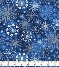 Christmas Fabric - White & Metallic Silver Snowflake Toss Blue - Cotton YARD