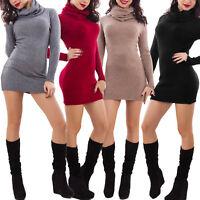 Maglione donna miniabito vestito tricot collo alto aderente sexy nuovo 2031