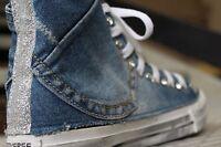 converse all star  con jeans piu' glitter fino argento e swaroski piu' sporcatur
