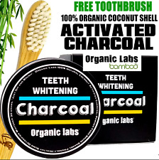 1100% ORGANIC ACTIVATED CHARCOAL COCONUT TEETH WHITENING POWDER AND TOOTHPASTE