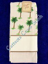 Hand Towel To Cross Stitch With Aida Band Palm Trees Ecru Velour OOP