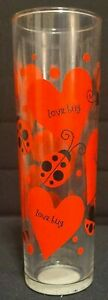 Lady Bugs & Love Bugs Hearts Glass Vase Valentines Day