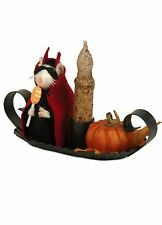 Byers Choice Halloween Devil Mouse Rustic Metal w/Lit Candle Holder Battery Oper
