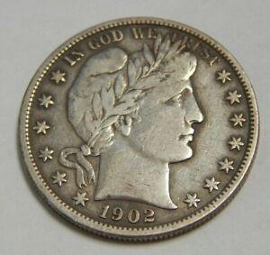 1902 - Silver Barber Half Dollar - 50¢