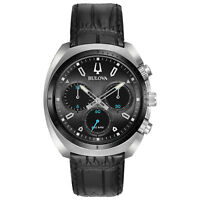 Bulova CURV Men's Quartz Chronograph Black Leather Strap 43mm Watch 98A155