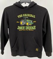 Boy's John Deere Tractor Hoodie Size Youth Large 14/16 Black Pullover Pre-Owned