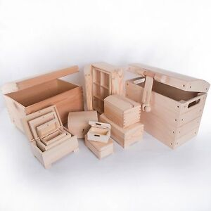 Selection of Wooden Chest Storage Boxes / Plain Wood / Small & Large Trunk Box