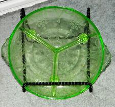 VINTAGE Footed Vaseline Depression GLASS Divided CANDY Serving DISH