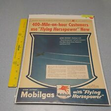 New listing 1940's Vintage Ad Mobil gas , Flying Horsepower! WW2 Man Cave Art
