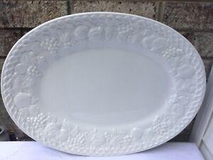 WILLIAMS SONOMA LARGE VEGETABLE FRUIT MILK WHITE OVAL PLATTER PLATE - ITALY