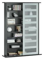Home New York Sliding Glass Storage Unit + Sliding Glass Door Black Cabinet New