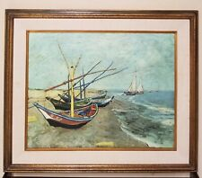 VINCENT VAN GOGH Oil on Canvas Painting - Fishing Boats on the Beach of Les Sa..