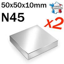 LOT DE 2 SUPER AIMANT MAGNET NEODYM N45 - 50x50x10mm - 160Kg