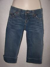 Bke star crop capri jeans womens 26 stretch distressed-- preowned med wash