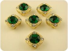 2 Hole Beads GALA Crystal 8mm Emerald Swarovski Elements ~ GOLD ~ Sliders QTY 6