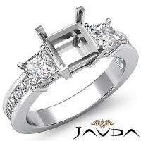 Natural Diamond Wedding 3 Stone Ring 14k White Gold Princess Semi Mount 1.1Ct