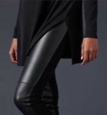 XL NWT Eileen Fisher Black Lambskin Leather Blocked  Stretch Ponte Legging $378