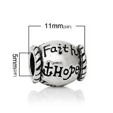 """""""Faith Hope Love"""" Charm for Snake Chain Charm Bracelets 2743"""