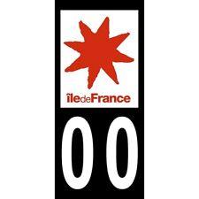 """2X Stickers Plaques Auto Fond Noir """"Île de France"""""""