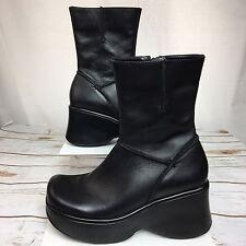 Steve Madden Platform Boot Vintage Ankle Chunky Black 90s Rave Club Kid Size 8.5