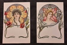 cpa CAW art nouveau genre mucha femme vitrail decor floral non signé non divisé