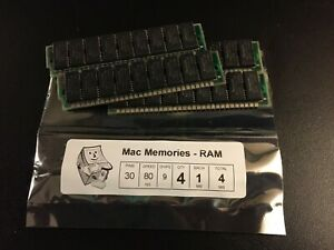 4x 1MB 30-Pin 9-Chip Parity 80ns FPM Memory SIMMs Apple Macintosh SE Plus 1Mx9