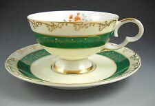 Yada China Made in Japan Green Stripe and Pink Roses Footed Tea Cup and Saucer