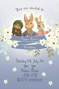 Personalised Peter Rabbit Party Invitations and Envelopes x 10