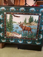Moose with canoe & eagle sewing panel