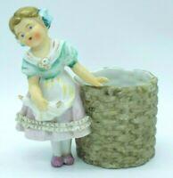 Vintage Girl Planter Figurine Dresden Lace Trim Porcelain Basket Vase Germany?