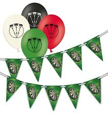 Darts - Board  bunting & Assorted Darts Printed Latex Balloons pack of 8