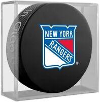 New York Rangers NHL Team Logo Basic Souvenir Hockey Puck in Display Cube