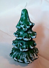 """6"""" Christmas Tree Green w/snow White tips Candle"""